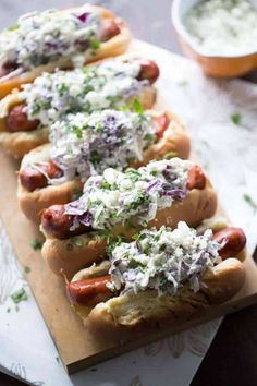Gourmet Hot Dog Recipes: Andouille Sausage with Blue Cheese Coleslaw Grilling Recipes, Cooking Recipes, Healthy Recipes, Healthy Food, Delicious Recipes, Blue Cheese Coleslaw, Gourmet Hot Dogs, Hot Dog Recipes, Chicken Recipes