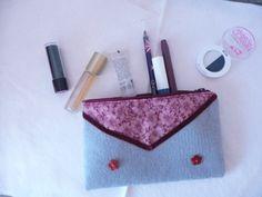 Grey felt purse with pink flower fabric grey felt by Hermitinas