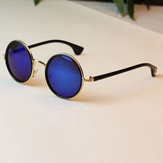 Vintage Round Sunglasses Mirror Lens Retro Sunglasses