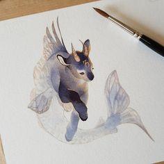 "Drawing Animal Rozenn Grosjean - ""Hi! I'm Rozenn, a French traditional illustrator, actually working on Darwin's Choice game! Creature Drawings, Animal Drawings, Cute Drawings, Mythical Creatures Art, Fantasy Creatures, Pretty Art, Cute Art, Zodiac Art, Creature Design"