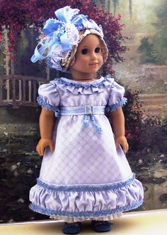 BLUE IRIS   Romantic Regency Era Gown  Headdress & Pantalettes  OOAK  Ensemble  Fits American Girl Dolls. $144.49, via Etsy.