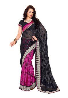 #Superlative #Black & Pink Net #Saree