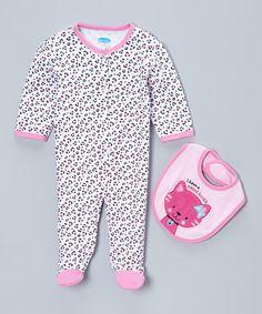 Look at this #zulilyfind! Pink Leopard Snuggle 'N' Play Footie & Kitty Bib - Infant by bon bébé #zulilyfinds