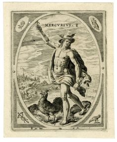 Mercurius; in his right hand the caduceus, in his left hand a purse; a cock standing next to him; landscape in the background; plate number 6. from a set of seven numbered plates and a titlepage; ovals in rectangels; in the corners the signs of the zodiac and related symbols; above the names of the planets. 1589