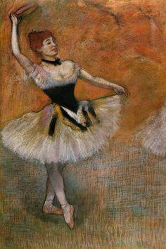 Dancer with Tambourine, Edgar Degas  Medium: pastel on paper