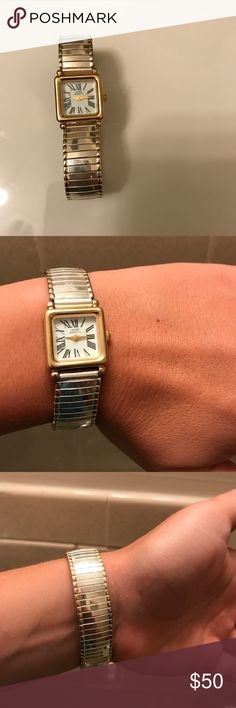 Anne Klein two tone expansion band watch Shimmering tones of gold and silver in this lovely watch - watch band does expand but fits on the smaller side Anne Klein Accessories Watches