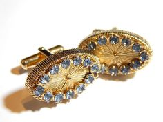 Mens Vintage Cufflinks  Brushed Gold With by MURPHYSTREASURES2, $12.95