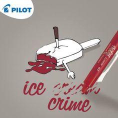 Ice crime or ice cream?? Napíš. Vymaž. Prepíš. #happywriting #pilotpen