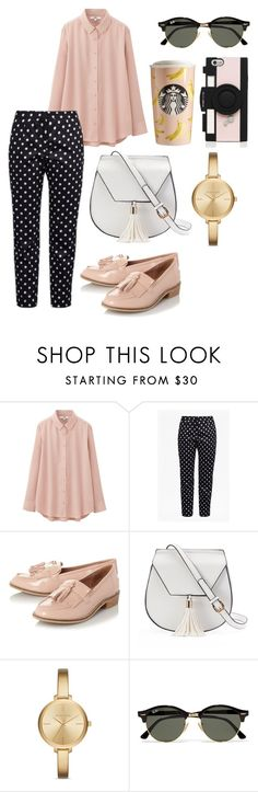 """""""working outfit"""" by indirag on Polyvore featuring Uniqlo, French Connection, Steve Madden, Yoki, Michael Kors, Ray-Ban and Kate Spade"""