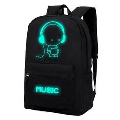 Canvas Backpack Galaxy Luminous Cartoon Printing Backpack Girl & Boy School Bags for Teenagers Travel Bag Mochila Escolar XA163C