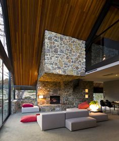Lovely mid century designed home, although I would prefer a different stone.