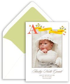 Initial Ribbon Photo Birth Announcements