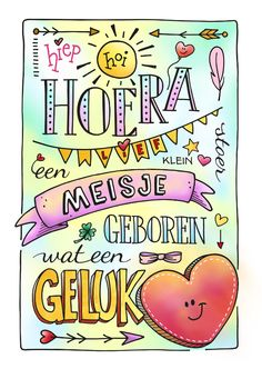 Felicitatiekaart meisje / dochter geboren, handgetekend, uniek, hiphandlettering, handletteren, doodling, doodle, illustratie, getekend @ kaartje2go  / ontwerp: creagaat Diy Agenda, Happy Birthday Kids, Doodle Quotes, Cute Clipart, Doodle Drawings, Smash Book, Cardmaking, Birthday Cards, Doodles