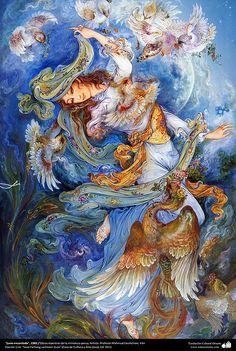 **Iran Persian Miniature By Mahmoud Farshchian Fantasy Kunst, Fantasy Art, Art And Illustration, Iranian Art, Goddess Art, Fantasy Paintings, Woman Painting, Islamic Art, Les Oeuvres