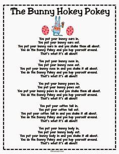 The Bunny Hokey Pokey Song/Poem Freebie.Get kids up and moving for fun Easter song/poem. Put in Poetry Binders! April Preschool, Preschool Music, Preschool Activities, Spring Songs For Preschool, Spring Activities, Kindergarten Music, Therapy Activities, Spring Songs For Kids, Kids Crafts