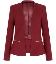 Add a sophisticated colour to a work-wear style with this burgundy zip blazer - throw over a printed dress and sling back peeptoe heels.- Slim fit- Gold zip fastening- Open front design- Simple long sleeves- Model is and wears UK 6 Burgundy Blazer, Stylish Clothes For Women, Latest Fashion For Women, Blazer Jacket, New Look, Dress Outfits, How To Wear, Blazers, Front Design