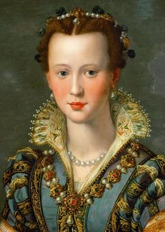 ♔ Portrait of Maria de' Medici by Alessandro Allori (detail) Mode Renaissance, Renaissance Kunst, Renaissance Portraits, Renaissance Paintings, Italian Renaissance, Most Famous Paintings, Italian Art, Historical Costume, Michelangelo