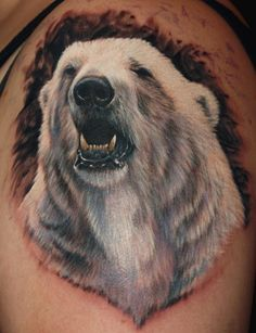 Super realistic polar bear tattoo