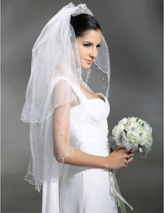 2 Layer Fingertip With Beading Wedding Veil - USD $ 4.99