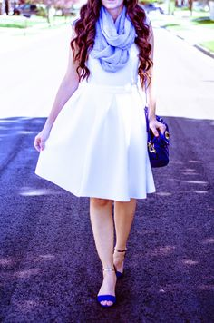 Pop of Blue! Featuring Shop the Mint Boutique! With this beautiful white skirt is perfect for any occasion! http://loveirisblog.blogspot.com/2015/05/adorably-white-pop-of-blue-25-giveaway.html