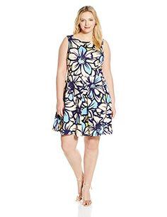 Taylor Dresses Women's Plus-Size Fit-and-Flare Big Daisy Scuba Dress