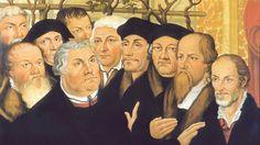 Reformatorenkreis mit Forster, Spalatin, Luther, Bugenhagen, Erasmus von Rotterdam, Jonas, Cruciger und Melanchthon. Meienburgischen Epitaph von Lucas Cranach dem Jüngeren. | Bildquelle: Gemeinfrei