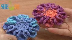 Crochet Stuffed Flower Button Tutorial 5 Part 1 of 2 Crochet Flower on P...