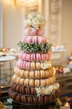 A wedding macaron tower made with raspberry , caramel and chocolate macarons Macaron Tower, Towers, Macarons, Whole Food Recipes, Caramel, Raspberry, French, Chocolate, Wedding
