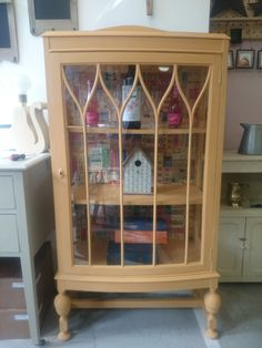 Edwardian glazed bookcase in Arles Chalkpaint™ sealed in Clear Chalkpaint™ wax decoupage to black of cabinet. Display Cabinets, China Cabinet, Liquor Cabinet, Decoupage, Bookcase, Wax, Storage, Glass, Furniture
