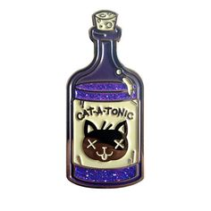 Cat-a-Tonic Bottle Enamel Pin