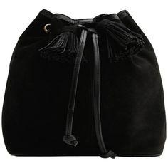 Mango Suede Bucket Bag, Black ($105) ❤ liked on Polyvore