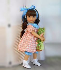"""Handmade dress bloomers and hair bow fits Dianna Effner 13"""" little darling doll #SusanElizabeth"""