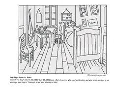 Vincent van Gogh's Bedroom at Arles coloring page