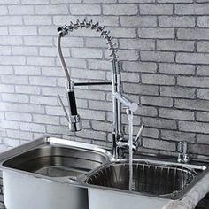 Modern Single Brass Spring Kitchen Tap - Silver