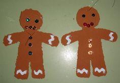 Estos muñecos de jengibre son ideales para colgar en el arbolito de Navidad o donde queramos. MATERIALES NECESARIOS: Se utiliza goma eva de color marrón, (también se podría hacer con cartulina marrón,) usamos tanza o sedal para poder colgarlos y...