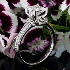 1 CT Diamond Engagement Ring Princess Cut D/SI 14K White Gold Enhanced #ArtOfDiamonds #SolitairewithAccents
