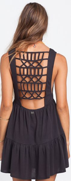 Out At Sea Dress by Billabong USA. This fun flirty summer dress is a welcomed update to the plain little black dress. With a lattice back detail that is clearly a take down from this seasons hottest fun back bikini trends.