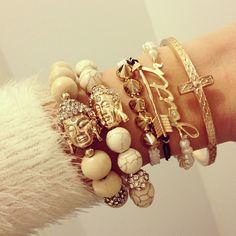 Gold and ivory bracelet stack | tumblr
