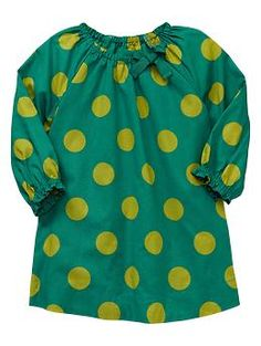 Raglan dot dress | Gap. This green hair clip is a great match! http://www.bittybowsboutique.com/flower-hair-clip-glitter-gigi.html#