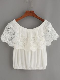 White Crochet Trim Off The Shoulder Top - Zooomberg