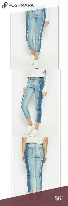 Like Mother Like Daughter Two Tone Denim These cropped two tone denims are out to prove a point -- that when you opt for comfort, you don't have to opt out of style! Made of cotton with 2% spandex for a nice bit of stretch, these mid-rise jeans offer a great fit. Plus, they remain the definition of cool casual with their two tone patchwork of mid and light wash, and frayed seams on the front and back. Kooky's Kloset Jeans Ankle & Cropped