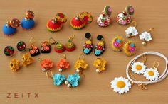 polymer clay jewellery by zeitx Polymer Clay Projects, Diy Clay, Clay Crafts, Polymer Clay Flowers, Polymer Clay Jewelry, Tatting Jewelry, How To Make Beads, Clay Art, Projects To Try