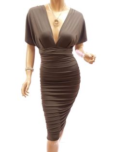 Patty Women Convertible V Neck One Shoulder Open Back Ruched Evening Dress