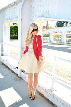 dress + red blazer