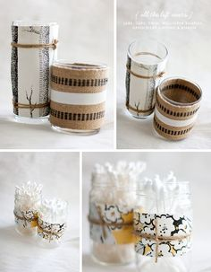 DIY Wallpaper Jars  Do you ever feel like you need some cute containers for q-tips, pens,  and other odds and ends, but can't find exa...