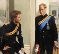 One of a kind: The first double portrait of Prince William and Prince Harry, by artist Nicky Philipps. The Princes are both in their Household Cavalry uniforms sporting Queen's Jubilee Medals. Harry is wearing his Afghanistan campaign medal, while William is wearing the Star and Garter sash and badge