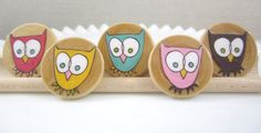 Offbeat Owls LARGE Wooden Circle Magnets Set of 5 by JuJuBrand, $9.50