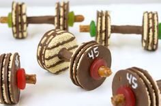 Barbell weight cookies for an Olympic themed birthday party. My Party 2015!