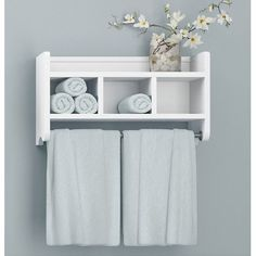 Enhance your bathroom by adding this wood bath storage shelf with built-in towel rod. This storage shelf has three cubbies and a shelf for convenience, and its small compact size makes for an easy fit. Bathroom Towel Storage, Diy Bathroom Decor, Bathroom Towels, Bathroom Shelves, Wall Shelves, Bathroom Organization, Towel Shelf, Glass Shelves, Floating Shelves