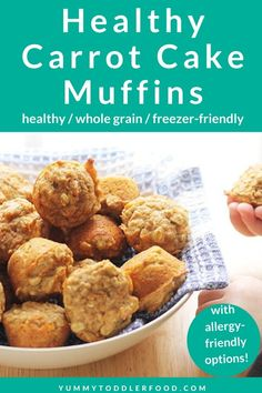Packed with carrots, whole grains, and protein, these Carrot Cake Muffins are a healthy way to start the day. You can even make them ahead of time! Healthy Carrot Cakes, Carrot Recipes, Healthy Muffins, Baby Food Recipes, Toddler Recipes, Cake Recipes, Healthy Toddler Meals, Kids Meals, Toddler Food